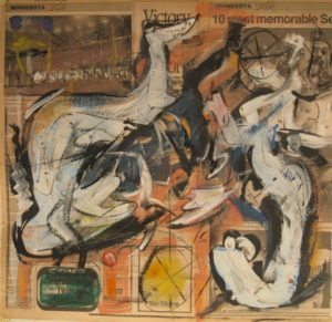 "Tom Westberg - Untitled - APR15 - 22"" x 22"" - acrylic, charcoal, pastel on newspaper"