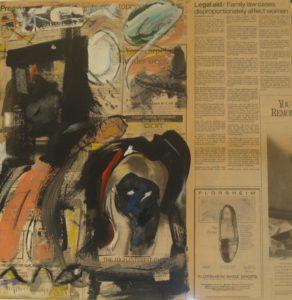 "Tom Westberg - Untitled - Jan16 - 22"" x 22"" - acrylic, charcoal, pastel on newspaper"