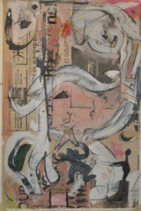 "Tom Westberg - Untitled - Jun15 - 22"" x 15"" - acrylic, charcoal, pastel on newspaper"