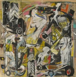 "Tom Westberg - Untitled - Jun16 - 22"" x 22"" - acrylic, charcoal, pastel on newspaper"