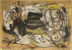 "Tom Westberg - Untitled - May15B - 15"" x 22"" - acrylic, charcoal, pastel on newspaper"
