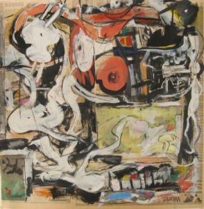 """Tom Westberg - Untitled - May16 - 22"""" x 22"""" - acrylic, charcoal, pastel on newspaper"""