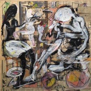 """Tom Westberg - Stand Back 10 Feet - Oct15 - 22"""" x 22"""" - acrylic, charcoal, pastel on newspaper"""