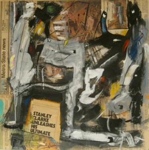 Tom Westberg - Stanley Clarke - AUG16C -22%22 x 22%22 - acrylic, charcoal, pastel and collage on newspaper